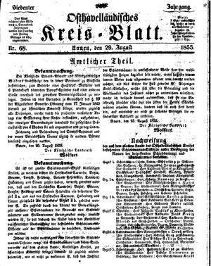 Osthavelländisches Kreisblatt vom 29.08.1855