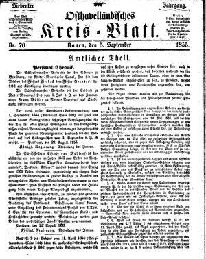 Osthavelländisches Kreisblatt vom 05.09.1855