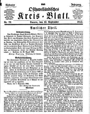 Osthavelländisches Kreisblatt on Sep 12, 1855