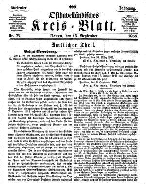 Osthavelländisches Kreisblatt vom 15.09.1855