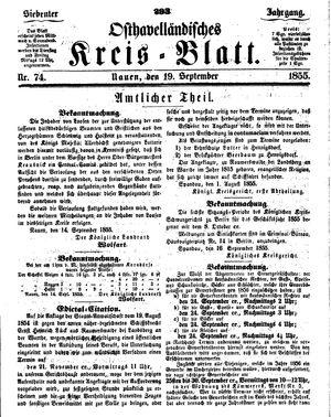 Osthavelländisches Kreisblatt vom 19.09.1855