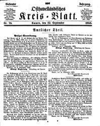 Osthavelländisches Kreisblatt (22.09.1855)