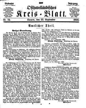 Osthavelländisches Kreisblatt vom 22.09.1855
