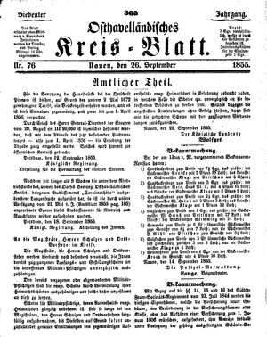 Osthavelländisches Kreisblatt on Sep 26, 1855