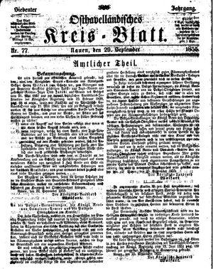 Osthavelländisches Kreisblatt vom 29.09.1855