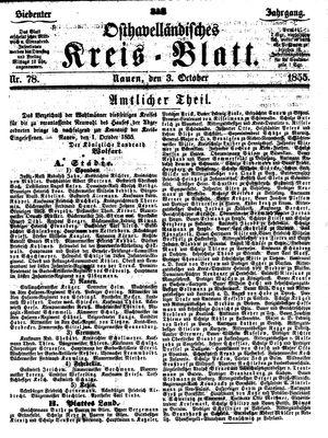 Osthavelländisches Kreisblatt vom 03.10.1855