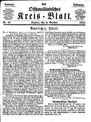 Osthavelländisches Kreisblatt vom 06.10.1855
