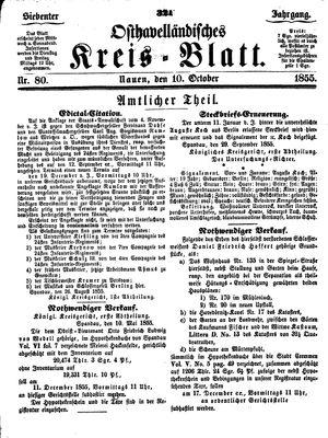 Osthavelländisches Kreisblatt vom 10.10.1855