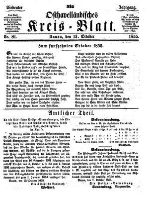 Osthavelländisches Kreisblatt vom 13.10.1855