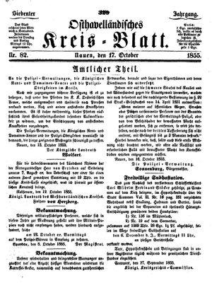 Osthavelländisches Kreisblatt vom 17.10.1855
