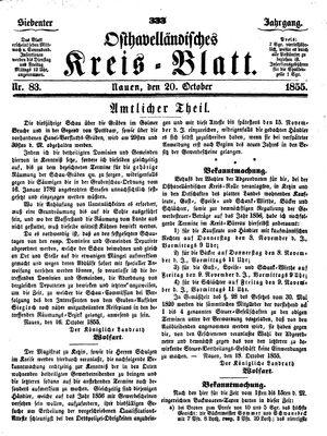 Osthavelländisches Kreisblatt vom 20.10.1855