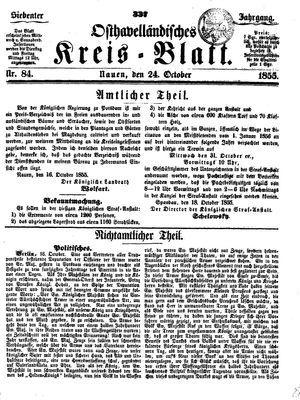 Osthavelländisches Kreisblatt vom 24.10.1855