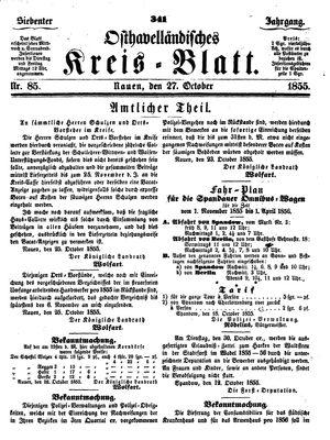 Osthavelländisches Kreisblatt vom 27.10.1855
