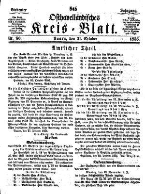 Osthavelländisches Kreisblatt vom 31.10.1855