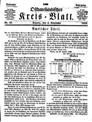 Osthavelländisches Kreisblatt vom 03.11.1855