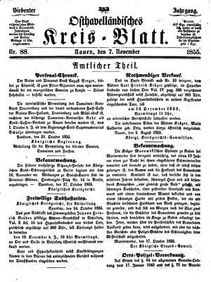 Osthavelländisches Kreisblatt vom 07.11.1855
