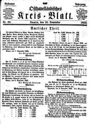 Osthavelländisches Kreisblatt vom 10.11.1855