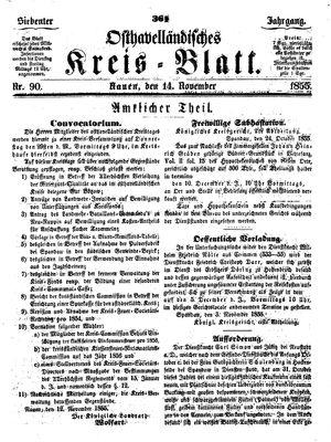 Osthavelländisches Kreisblatt vom 14.11.1855