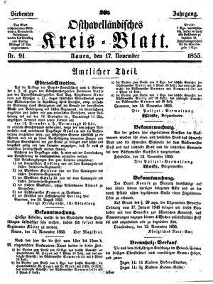 Osthavelländisches Kreisblatt vom 17.11.1855