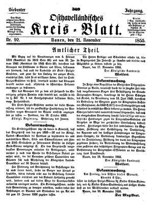 Osthavelländisches Kreisblatt vom 21.11.1855