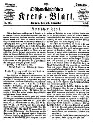 Osthavelländisches Kreisblatt vom 24.11.1855