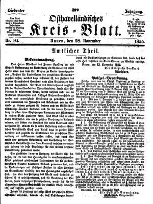 Osthavelländisches Kreisblatt vom 28.11.1855
