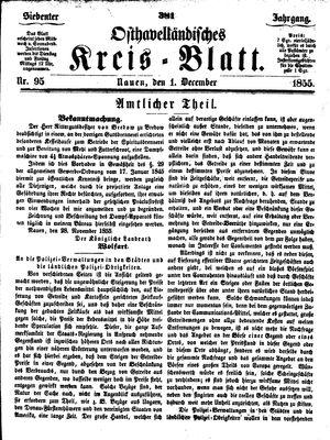 Osthavelländisches Kreisblatt vom 01.12.1855
