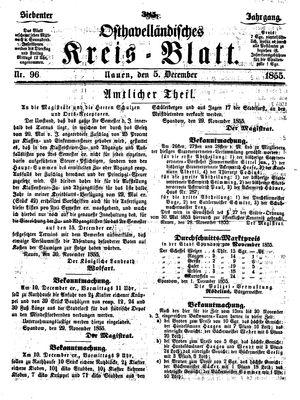 Osthavelländisches Kreisblatt vom 05.12.1855