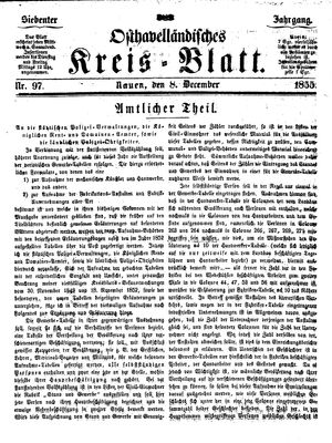 Osthavelländisches Kreisblatt vom 08.12.1855