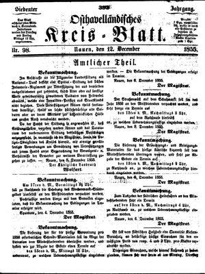 Osthavelländisches Kreisblatt vom 12.12.1855