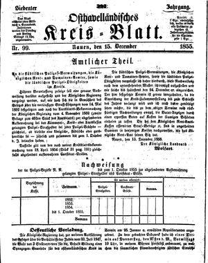 Osthavelländisches Kreisblatt vom 15.12.1855