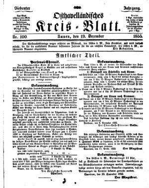 Osthavelländisches Kreisblatt vom 19.12.1855