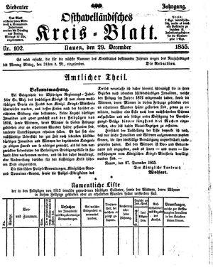 Osthavelländisches Kreisblatt on Dec 29, 1855