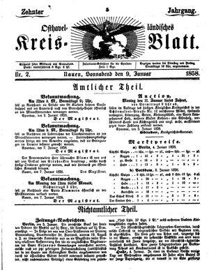 Osthavelländisches Kreisblatt vom 09.01.1858