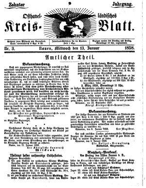 Osthavelländisches Kreisblatt vom 13.01.1858