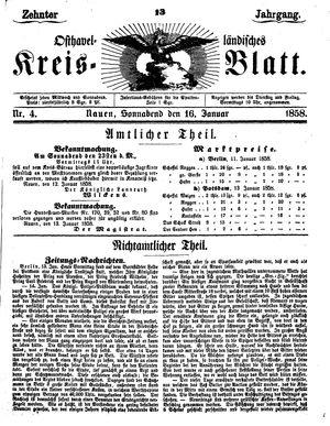 Osthavelländisches Kreisblatt vom 16.01.1858
