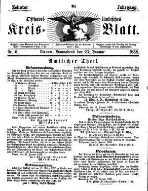 Osthavelländisches Kreisblatt on Jan 23, 1858
