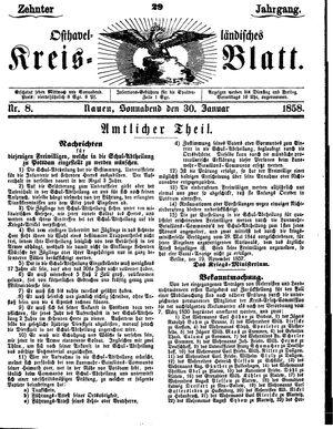 Osthavelländisches Kreisblatt vom 30.01.1858