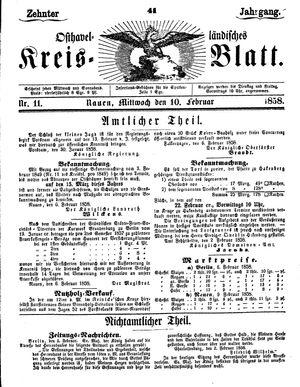 Osthavelländisches Kreisblatt vom 10.02.1858