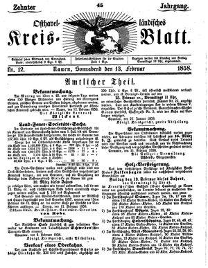 Osthavelländisches Kreisblatt vom 13.02.1858