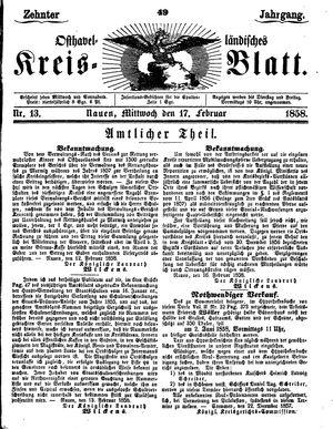 Osthavelländisches Kreisblatt vom 17.02.1858