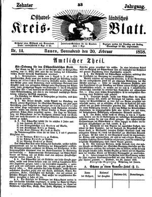 Osthavelländisches Kreisblatt vom 20.02.1858