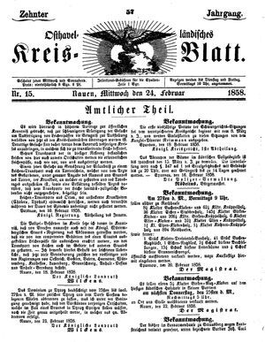 Osthavelländisches Kreisblatt vom 24.02.1858
