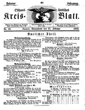 Osthavelländisches Kreisblatt vom 27.02.1858