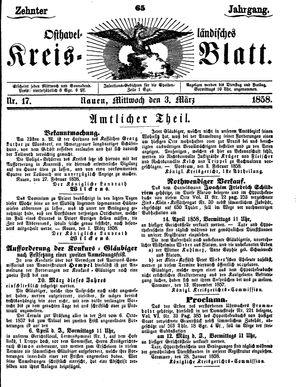 Osthavelländisches Kreisblatt vom 03.03.1858