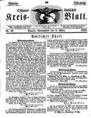 Osthavelländisches Kreisblatt vom 06.03.1858