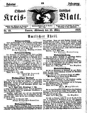 Osthavelländisches Kreisblatt vom 10.03.1858