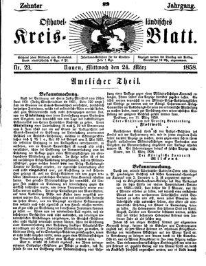 Osthavelländisches Kreisblatt vom 24.03.1858