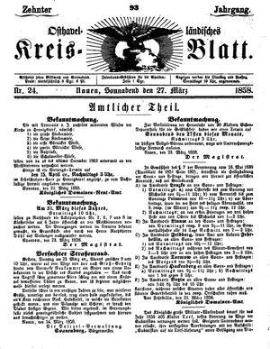 Osthavelländisches Kreisblatt vom 27.03.1858