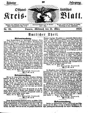 Osthavelländisches Kreisblatt vom 31.03.1858
